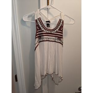 White tank with embroidery and beading detail